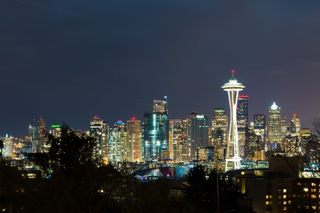 Seattle's skyline to show where the gluten free restaurants in Seattle are.