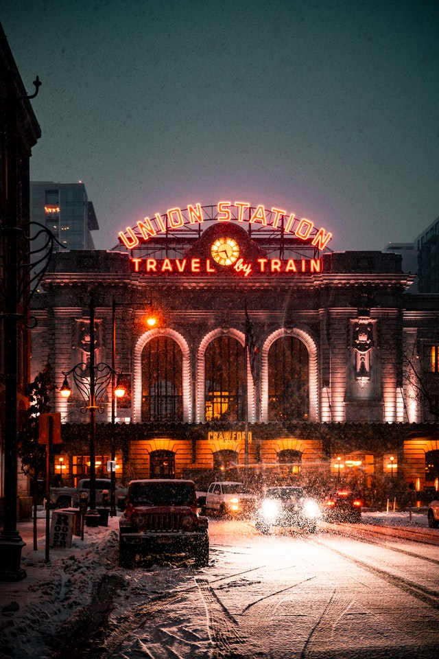 Picture of Denver train station to show where the gluten free restaurants in Denver are.