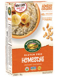 A picture of a box of Nature's Path Oatmeal showing that it is gluten free.